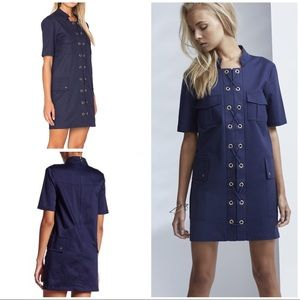 3cc2cb3a9a Nwot Finders Ruffle Overlay Navy Sleeveless Dress
